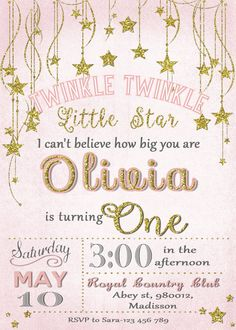 Twinkle Twinkle Little Star Invitation / by MyPrintableInvite