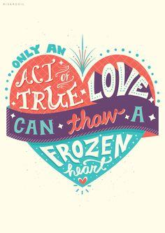 Frozen Lettering Series by Risa Rodil, via Behance Me encantaaa, aparte me encantó la paleta de colores