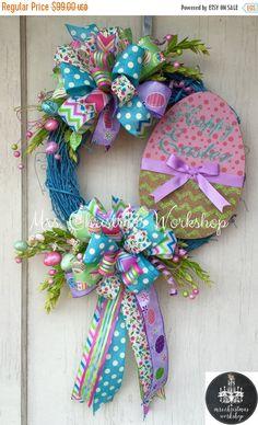 Easter Sale 10% off Easter wreath por MrsChristmasWorkshop en Etsy