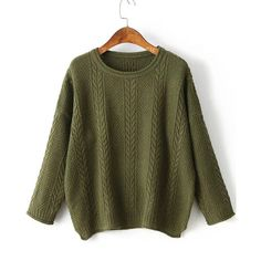 Army Green Drop Shoulder Side Slit Cable Knit Sweater (215 GTQ) ❤ liked on Polyvore featuring tops, sweaters, olive green sweater, green top, acrylic sweater, green pullover sweater and pullover sweaters