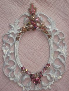 Extra Large Vintage Pink Jeweled Frame $220 (frame 10x13; photo size 5x7)