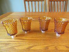 Lot of 4 Amber Lotus Peg Votive Candle Holders Glass Diamond pattern