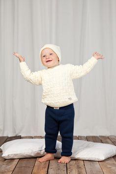 KISU-palmikkopusero (55 eur) PUPU-housut (39 eur) www.anne.fi  #organiccotton #ecobaby #ecological #organic #childrensknitwear
