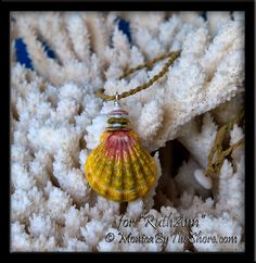 "Custom for ""RuthAnn"" of Lahaina, Maui, a colorful green and pink Moonrise Shell with stacked Moonrise chips and tiny Puka Shells, in .999 Fine silver, on twisted wax cord necklace. Wear with Aloha RuthAnn! www.MonicaByTheShore.com"