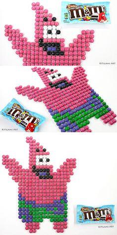Pixel Art Cartoon Patrick, pixel patrick candy mosaic made from M&M candy pieces. from SpongeBob Squarepants. Cartoon Art Styles, Cartoon Drawings, Art Drawings, Speed Art, Candy Art, Crayon Art, Color Pencil Art, Perler Patterns, Marker Art