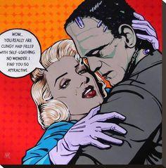 Terms of Endearment by Mike Bell Comic Frankenstein Giclee Art Print – moodswingsonthenet Jasper Johns, Roy Lichtenstein, Andy Warhol, Dali, Mike Bell, Richard Hamilton, Frankenstein Art, Terms Of Endearment, Vintage Comics