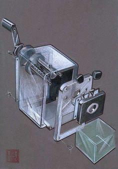 Vue éclatée. Fonction : voir de quoi et composé l'objet et comment il est assemblé.