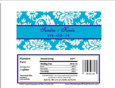 Purple & Turquoise Damask Wedding Candy Bar Wrapper Wed 649 WP Candy Bar Wedding, Damask Wedding, Candy Bar Wrappers, Special Day, Turquoise, Purple, Sweet Tables, Peacock, Appetizers