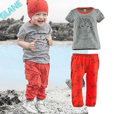 2016 Toddler Boys Girls Baby Clothes Lion Print Tops T-shirt+Pants Outfits Set 2-7Y Children's Clothing Sports Suit Tracksuit #Affiliate