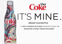 Win a vacation for 2 from Celebrity Cruises® or thousands of other instant win prizes!                     #Contests, #InstantWinPrizes, #Coke, #BottleDesign, #Cruise