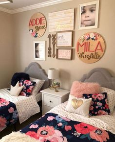 Kid room decor - 16 Diameter Floral Sign Name Sign Custom Sign Wood Cutout Home Decor Flower Cutout Nursery Decor Nameplate Baby gift Sister Bedroom, Shared Bedroom Girls, Twin Girl Bedrooms, Teen Bedroom, Colors For Girls Bedroom, Twin Bedroom Ideas, Siblings Sharing Bedroom, Girls Room Curtains, Girls Room Design