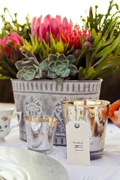 Speckled (mercury) votives MD018 and MD018 and grey and white planter MD039- pic courtesy of Le Belle Vita Photography (http://labellevitaphotography.co.za/2015/01/spring-styled-shoot-amongst-the-proteas/)