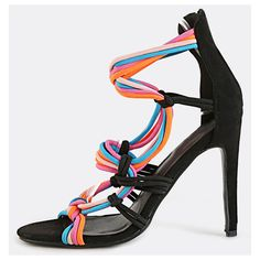 Neon Strappy  Stiletto Heels BLACK MULTI (£27) ❤ liked on Polyvore featuring shoes, pumps, black, black strap pumps, black open toe pumps, neon pumps, black strappy pumps and black strappy shoes