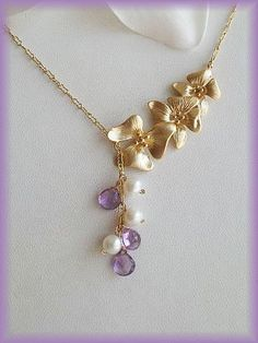14K GF Lariat Style Orchid flowers NECKLACE w/Amethyst by AnnTig, $39.95