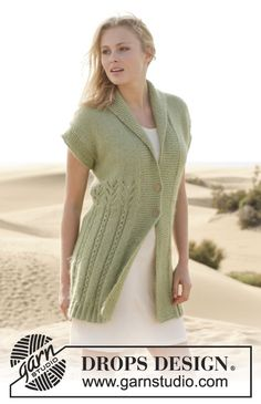 Warm and elegant jacket with #lace pattern - will fit perfectly over a light summer dress... #DropsDesign #knitting #ss2014