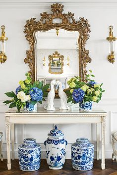 Symmetry, gilt mirror, sconces - University of Arkansas Kappa Kappa Gamma Sorority House: Entry Hall Chippendale Chairs, University Of Arkansas, Chinoiserie Chic, Blue And White China, Entry Hall, Entry Stairs, Entrance Foyer, White Rooms, Ginger Jars
