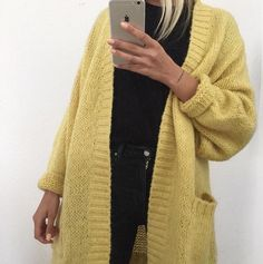 Black outfit w yellow cardigan