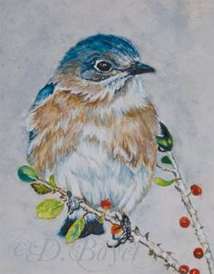 Wildside Art...for really wild art: Bluebird Watercolor Painting Completed by Deborah Boyet Artist