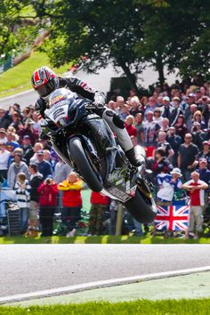 Josh Brooks jumps the Mountain at the Cadwell Park round of the 2011 British Superbikes