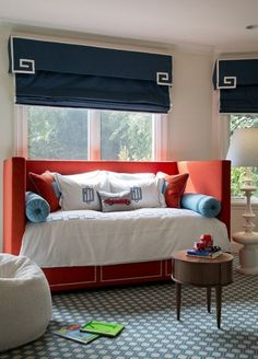 Upholstered daybed, roman shades, red white & blue