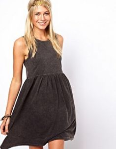 ASOS Adorable gray acid wash sleeveless dress S US 4 or UK 8 SOLD OUT #ASOS #Sundress #Casual