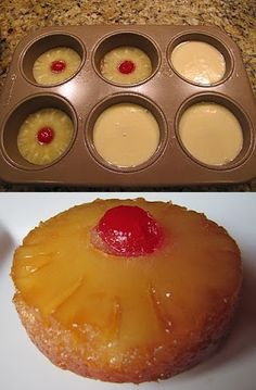 Kristy, I dream of the ones you make! Mini Pineapple Upside-Down Cakes - Food Recipe Mini Desserts, Easy Desserts, Delicious Desserts, Dessert Recipes, Yummy Food, Peach Cake Recipes, Mini Cakes, Cupcake Cakes, Mini Pineapple Upside Down Cakes