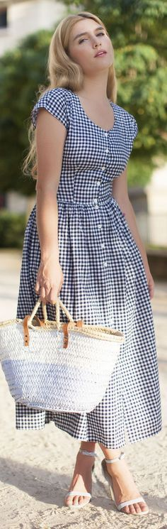 Blue And White Gingham Vintage Inspired Button Up Fit And Flare Maxi Dress  @roressclothes closet ideas women fashion outfit clothing style