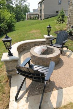 IMG_3249 by BIA Parade of Homes Photo Gallery, via Flickr. Cut out the lampposts, make the space around the fire pit bigger, add raised beds on either corner. Perfect.
