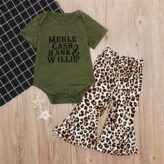 Merle, Cash, Hank, & Willie 2 Piece Outfit With Army Green Romper & Leopard Print Pants. Perfect For Any Country Girl! Western Baby Girls, Western Baby Clothes, Cute Baby Clothes, Infant Girl Clothes, Country Baby Clothes, Country Baby Boy Names, Baby Outfits Newborn, Baby Boy Outfits, Kids Outfits