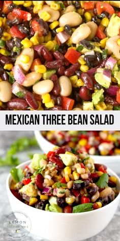 This Mexican Three Bean Salad recipe is quick, easy and the perfect make-ahead s. This Mexican Three Bean Salad recipe is quick, easy and the perfect make-ahead salad to serve when Balsamic Pork Tenderloins, Make Ahead Salads, Easy Summer Salads, Summer Meal Ideas, Summer Lunch Recipes, Easy Salads, Three Bean Salad, Corn And Bean Salad, 3 Bean Salad