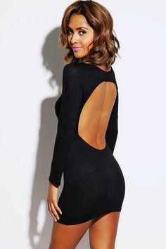 #1015store.com #fashion #style black backless fitted long sleeve clubbing mini dress-$10.00