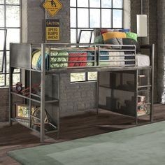 Looking for some industrial flair to add to a child's room? Look no more. The Florence Twin Low Loft Bed is ideal with brushed steel finish, mesh metal paneling and rectangular bars. It even includes two built-in ladders, allowing two different entry points to the lofted bed and two shelves on each side, perfect for storing toys and games. The space beneath can be left open and used for space to play. With the optional dresser - utilize it for more storage, freeing up space elsewhere. Wit...