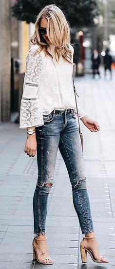 summer casual ootd shirt + rips+ heels
