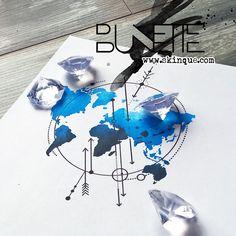 Watercolor geometric arrow earth tattoo inspiration bunette