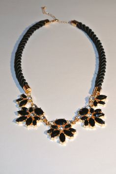 Black and Gold Rope Statement Necklace by KilroysJewels on Etsy