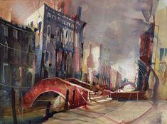 Bernhard-Vogel.-Gorodskoy-peyzazh-akvarel.-Campo-Forner-Venice