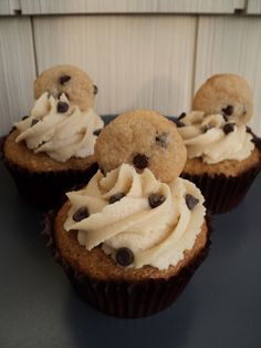 Chocolate Chip Cookie Dough Cupcakes - Vegan