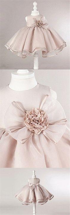 Dusty Pink Satin Tulle Zip Up Flower Girl Dresses, Lovely Little Girl Dresses with Flower Bow, FG030 #Sofiebridal #flowergirldresses #flowergirldress #wedding