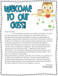 Welcome Back Week: Classroom Information packet freebie Preschool Welcome Letter, Parent Welcome Letter, Teacher Welcome Letters, Welcome Back Letter, Classroom Welcome, Letter To Teacher, Owl Classroom, Letter To Parents, Preschool Letters