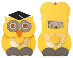 I have a bit of an owl obsession right now. How can you resist those big eyes? Who better to dish out graduation cash and a little advice than a wise old owl. Tuck some money and a little note into his belly and it makes the perfect graduation gift. Leave off the mortarboard and hes perfect for other occasions as well.