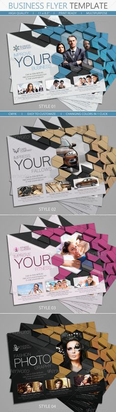 "Business Flyer Templates #GraphicRiver FEATURES: CMYK – print ready 8.5×11"" Letter: 0.25 in. bleed Free editable logo FILES INCLUDED: 4 x Letter PSD (CS4) Video Tutorial Free Font Download Link IMAGES: Photos used in the preview are not included. Please don't forget to rate if you like it Created: 8March13 GraphicsFilesIncluded: PhotoshopPSD Layered: Yes MinimumAdobeCSVersion: CS4 PrintDimensions: 8.5x11 Tags: burger #business #car #corporate #customize #easy #elegant #fashion #fitness…"