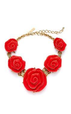 Red Resin Flower Link Neckalce by Oscar de la Renta Now Available on Moda Operandi
