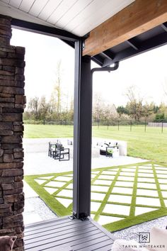 Decorative Outdoor Beam Plates - Taryn Whiteaker Outdoor Spaces, Outdoor Living, Paver Walkway, Post And Beam, Cool Diy Projects, Beams, Beautiful Homes, Diy Ideas, Living Spaces