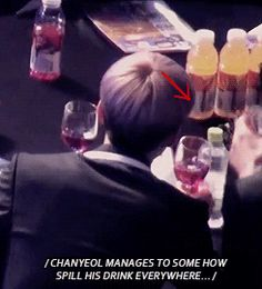 When a wine cup does a 90° bow to Sehun. #EXO #Chanyeol #Sehun