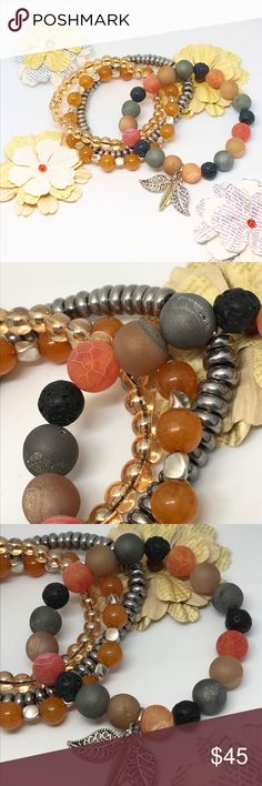 """Autumn Spice Druzy Agate Bracelet Set Handmade, Set Of 4 Bracelets Included, The Main Bracelet Featuring Silver Agate Druzy, Orange Crackle Agate Druzy, Lava Stone, & Amber Agate Druzy Round 10mm Beads w/ Silver Plated Leaf Charms (3). Other Bracelets Include Silver Plated Rounded Beads, Orange Quartzite Beads & Amber Colored Glass Beads. Size:7.34"""" Elastic Band Violet507 Jewelry Bracelets"""