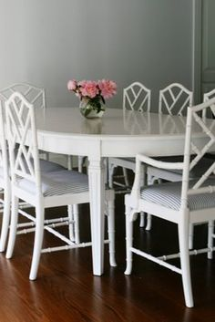 Dining Table Perfection: Faux bamboo chippendale white chairs + dining table | www.facebook.com/LFFdesigns