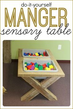 Make your own sensory table that looks like a manger
