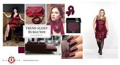 O tom burgundy considerado hit do inverno 2013, tendência presente nos cosméticos, nos acessórios e na decoração, tem inspirado também a moda plus size.