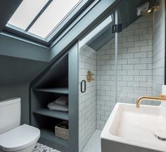 modern loft bathroom design ideas - modern loft bathroom design loft room ideas that give you extra space ver. Attic Shower, Small Attic Bathroom, Small Shower Room, Loft Bathroom, Bathroom Plans, Upstairs Bathrooms, Modern Bathroom, Bathroom Ideas, Sloped Ceiling Bathroom