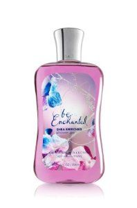 Bath & Body Works Signature Collection Shower Be Enchanted Shower Gel 10oz/295ml by Bath & Body Works. $11.99. Our exclusive formula is now enriched with Shea Butter for softer, cleaner skin in our bubbliest lather ever! Moisturizing Aloe Vera and skin-loving Vitamin E combine with Be Enchanted, a fresh, sparkling blend of frosted florals sweetened with sugared pomegranate for lather that bursts with fragrance. - Our super moisturizing shower gel, now enriched with S...